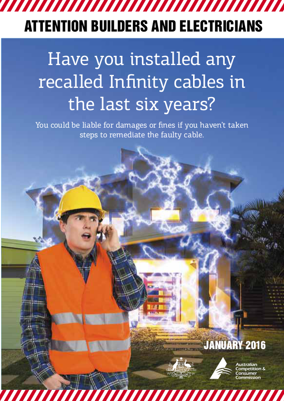 Infinity Cables Recall Bulletin for electricians and builders1